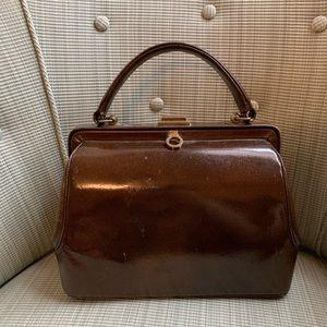 Vintage leather hand bag brown lined
